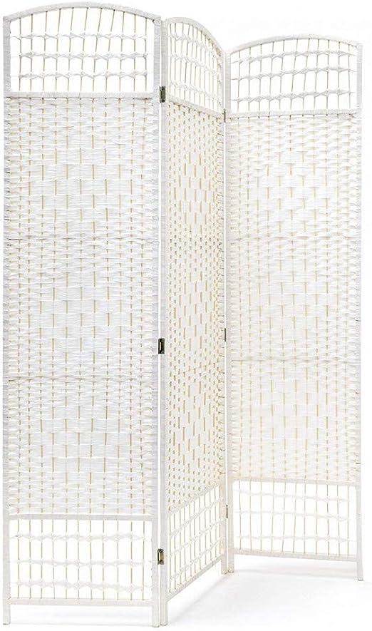 Biombo Blanco Country Bambú Natural 170 cm, Biombo Separador de Ambientes/Vestidor.3 Paneles 170x120cm: Amazon.es: Hogar