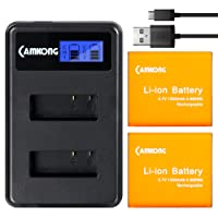 CAMKONG 2 pezzi 1350mAh Action Cam Batteria Ricaricabile + LCD Dual USB Caricabatterie per APEMAN/AKASO/ODRVM/Victure/Crosstour/Lightdow/Vitsing/DBPOWER/Accessori di ricambio per fotocamere sportive