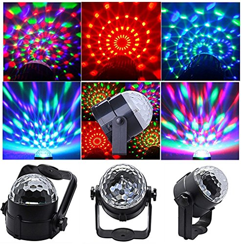 ELEOPTION Mini Stage LED Light 3W RGB Crystal Magic Ball LED Lamp 7 Colors Rotating Outdoor Car Stage DJ Disco Light USB Rechargeable Self-Propelled & Sound Activated Colorful Light by Eleoption (Image #1)'