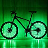 2 Pack LED Bicycle Bike Cycling Wheel Light with USB charging battery Safety Light Spoke Light Lamp Lightweight Accessory (Green) For Sale