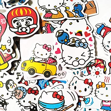 TTBH Cartoon Cute Kitty Sticker For Car Laptop Bicycle Luggage Waterproof Hallo Cat Stickers40Pcs/Bag