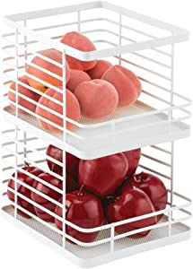 mDesign Farmhouse Decor Stackable Metal Wire Food Organizer Storage Bin Basket with Open Front for Kitchen Cabinets, Pantry for Organizing Fruits, Snacks, Vegetables, 2 Pack - Matte White