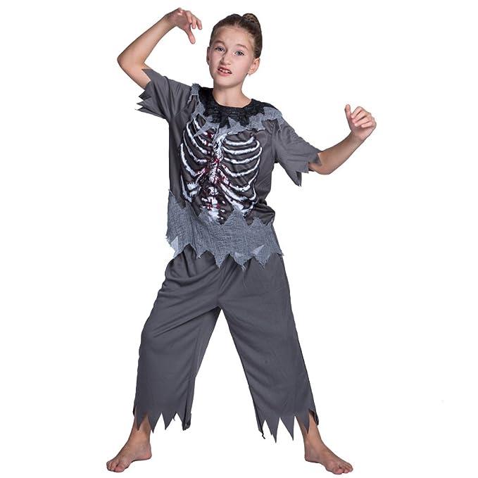 Niños Zombi Disfraz Conjunto Gris Camiseta Pantalones Muchachos ...