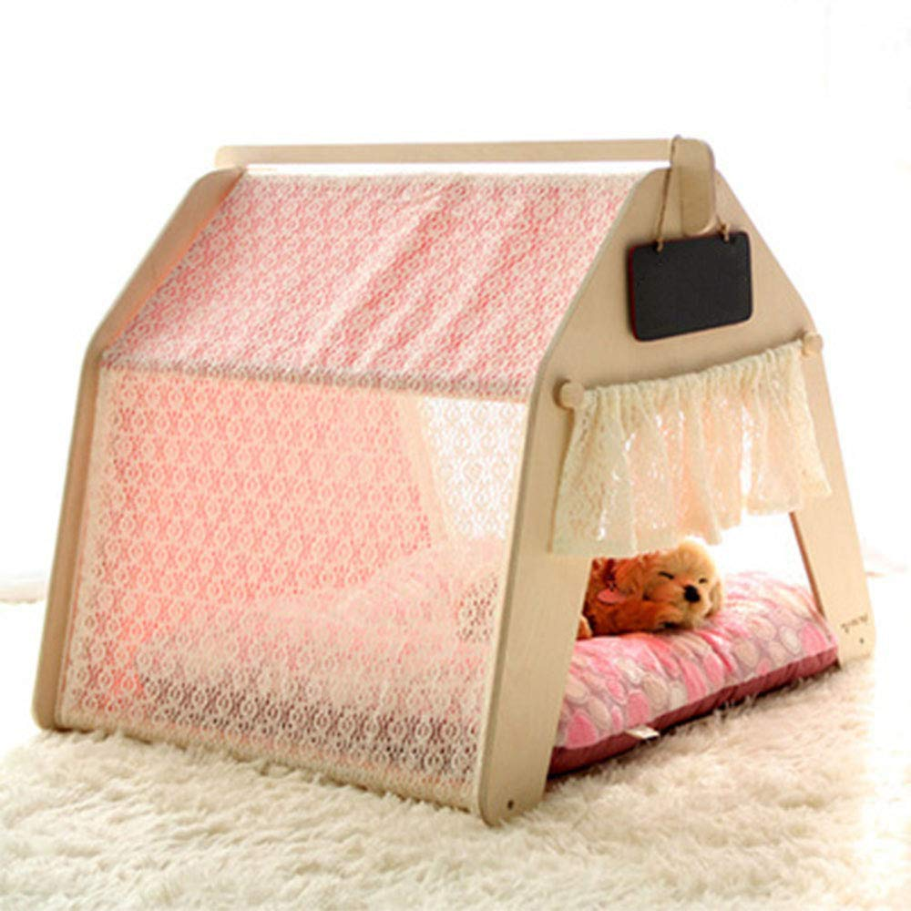 Large Four Seasons Universal Kennel, Removable and Washable Cat Dog House Small and Medium Dog Pet Tent Cotton Canvas Beech Composite Board,Large
