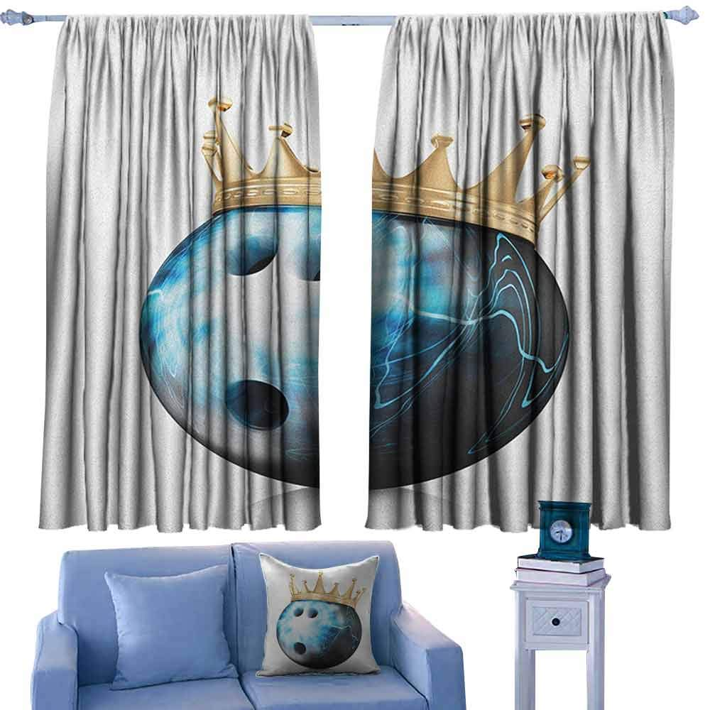 Bowling Party Curtains Crown on Artistic Ball Bowling King Champion Victory Theme Print,Curtains/Drapes for Kids Bedroom,W42 x L63 Inch by ParadiseDecor