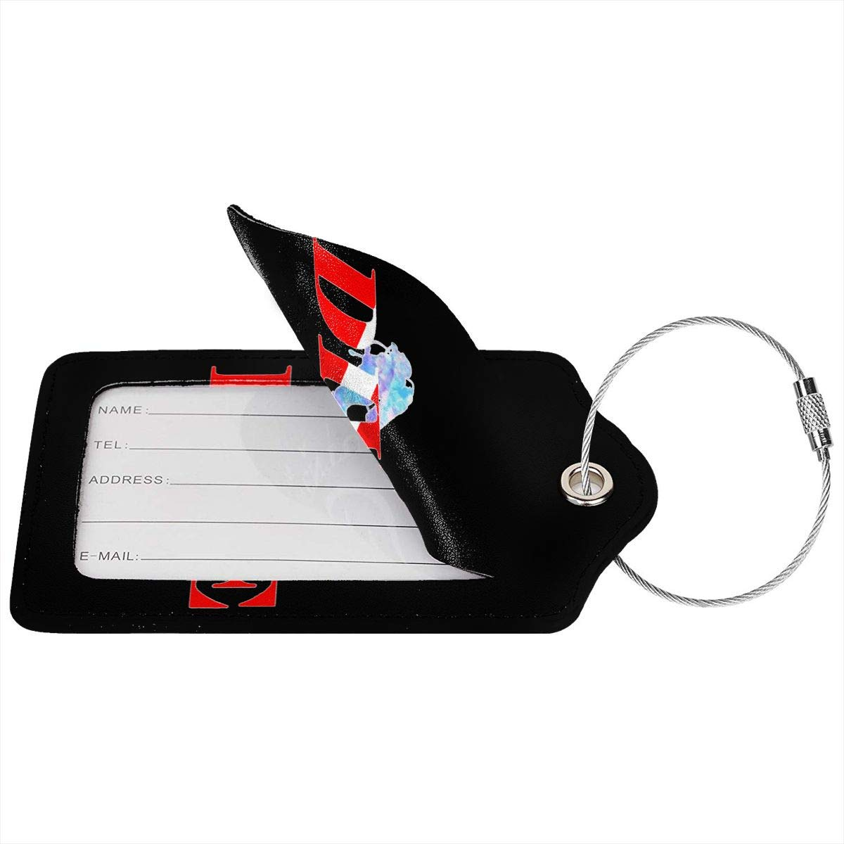 Scuba Diver Dive Down Flag Dive Leather Luggage Tags Suitcase Tag Travel Bag Labels With Privacy Cover For Men Women 2 Pack 4 Pack