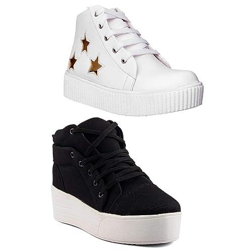 5c12b80b30b83 Longwalk Women's Black and White Canvas Sneakers (8 UK/IND-41 EU ...