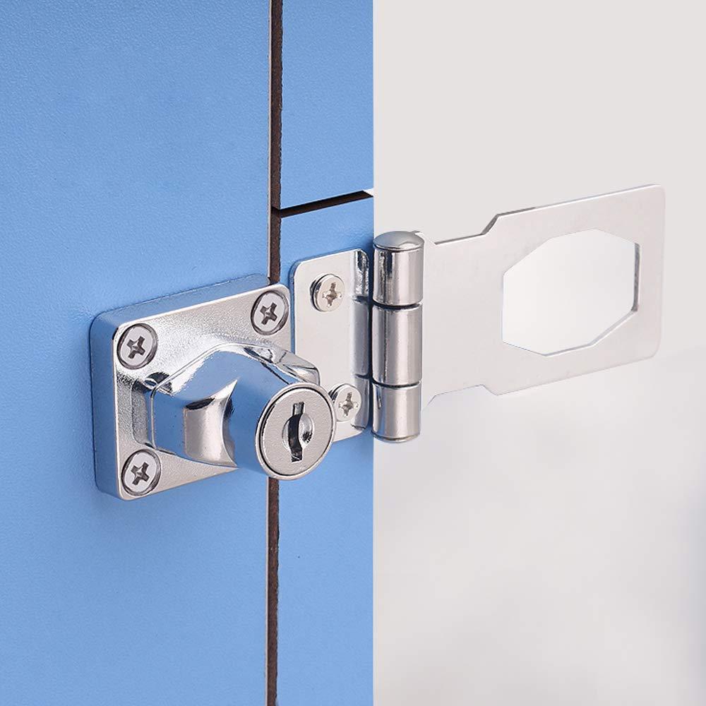 cajas hebilla de perno de puerta de 60 mm con candado y llave cromada para puertas de cobertizo Cerradura de puerta con llave muebles armarios