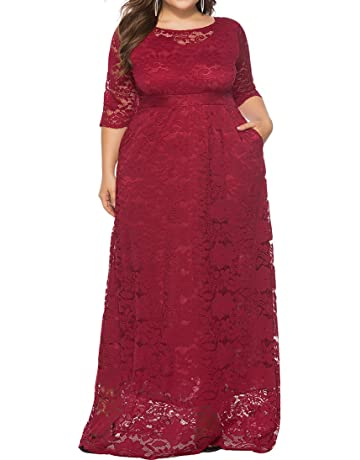 e3222f3cecdd2 Eternatastic Womens Floral Lace 2 3 Sleeves Maxi Dress Plus Size Evening  Party Dress