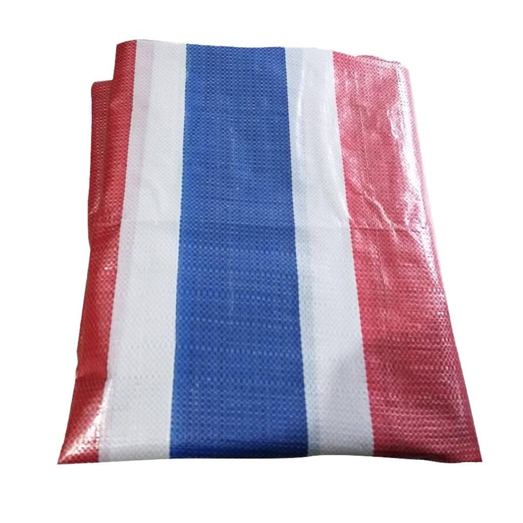 5x5M Qing MEI Rain Cloth color Strip Cloth Three-color Cloth Flower Plastic Flower Tarpaulin Waterproof Cloth Waterproof Cloth Sunshade Cloth A+ (Size   5x5M)