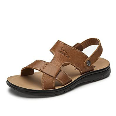 0c1ee038b39 Kang Long summer new men s leather sandals comfortable casual outdoor  sandals sandals and slippers authentic free