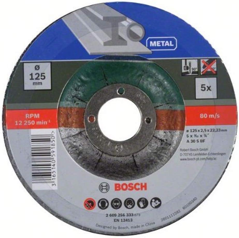 Bosch 2 609 256 333 - Juego de 5 discos de tronzar, acodado para metal