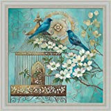 Blue Birds and Dogwoods Elaine Vollherbst-Lane Turquoise Gold Birdcage Framed Art Print Wall Decor