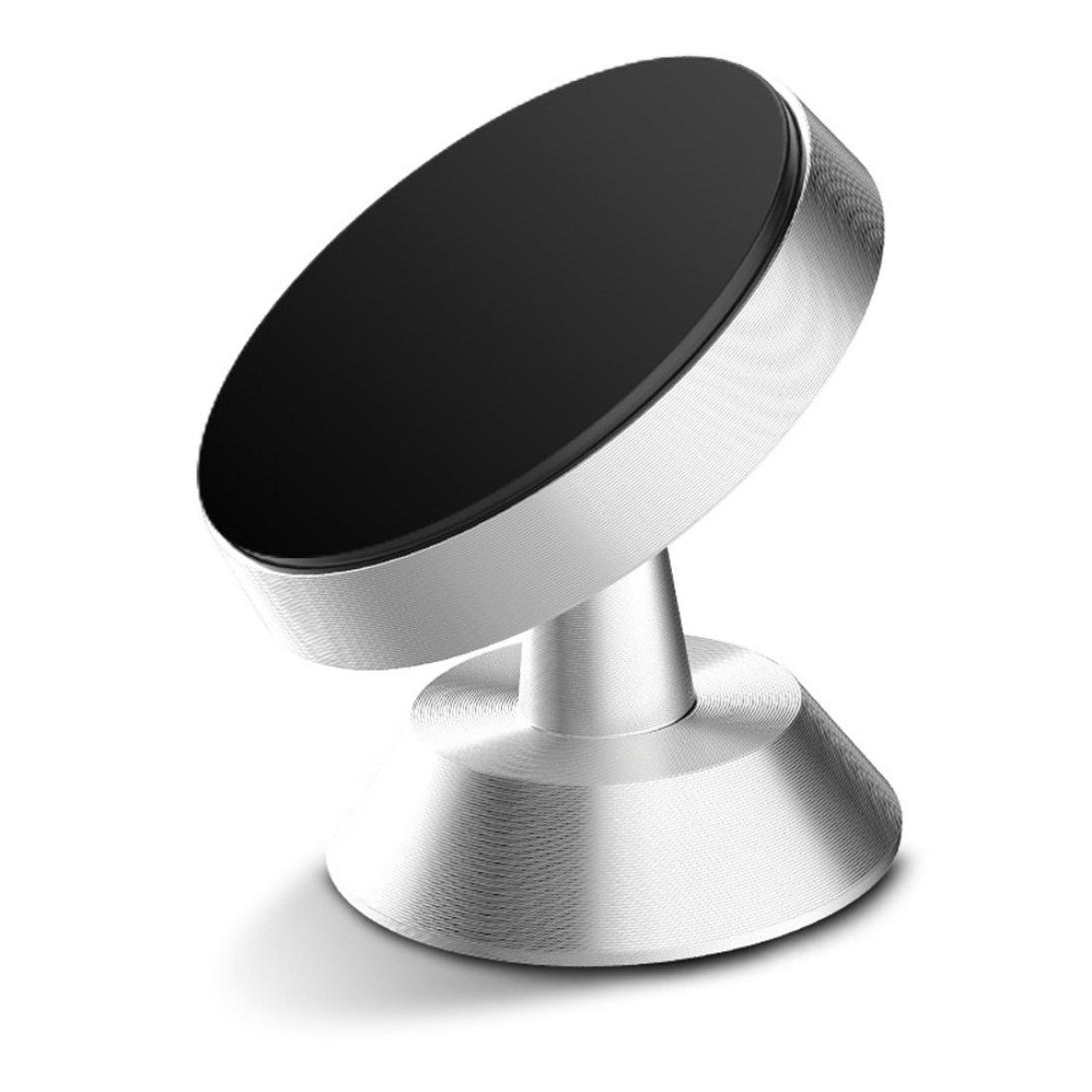 Iusun Magnetic Car Phone Holder, 360 Degree Rotating Holder Car Magnetic Mount Stand Smartphone Mounting Base For iPhone Samsung Huawei Xiaomi Phone (Silver)