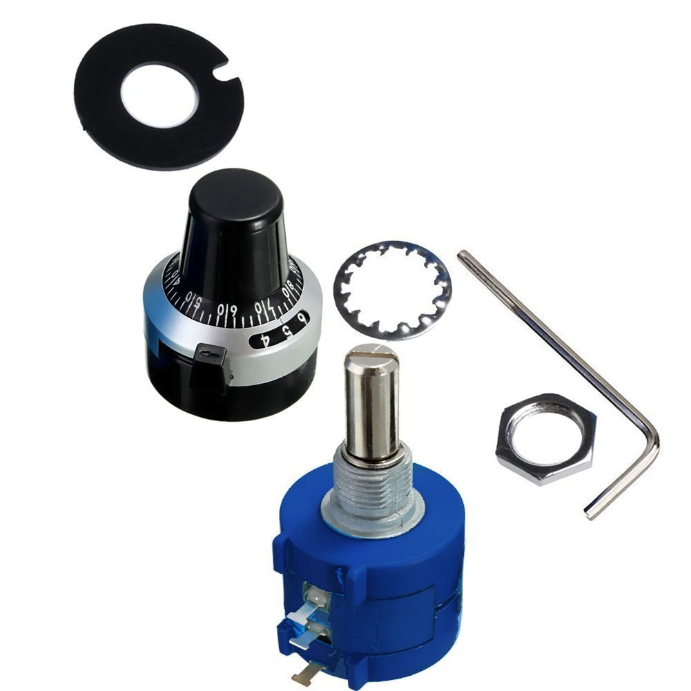 LGDehome 3590S-2-502L 5K Resistor Ohm Rotary Wire Wound Precision Potentiometer Pot with 10 Turn Counting Dial Rotary Knob The Scale knob Set by LGDehome (Image #2)