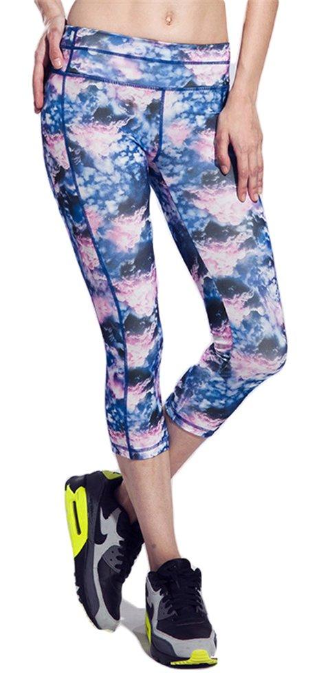 Buenas noches impresión de alta cintura CAPRI pantalones de ...