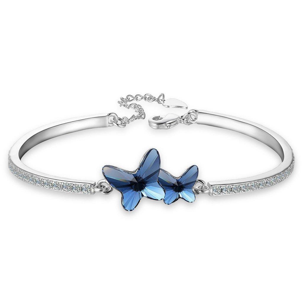 EleQueen Women's Silver-Tone CZ Butterfly Love Bangle Bracelet Denim Blue Adorned with Swarovski® Crystals 16001561-1ca