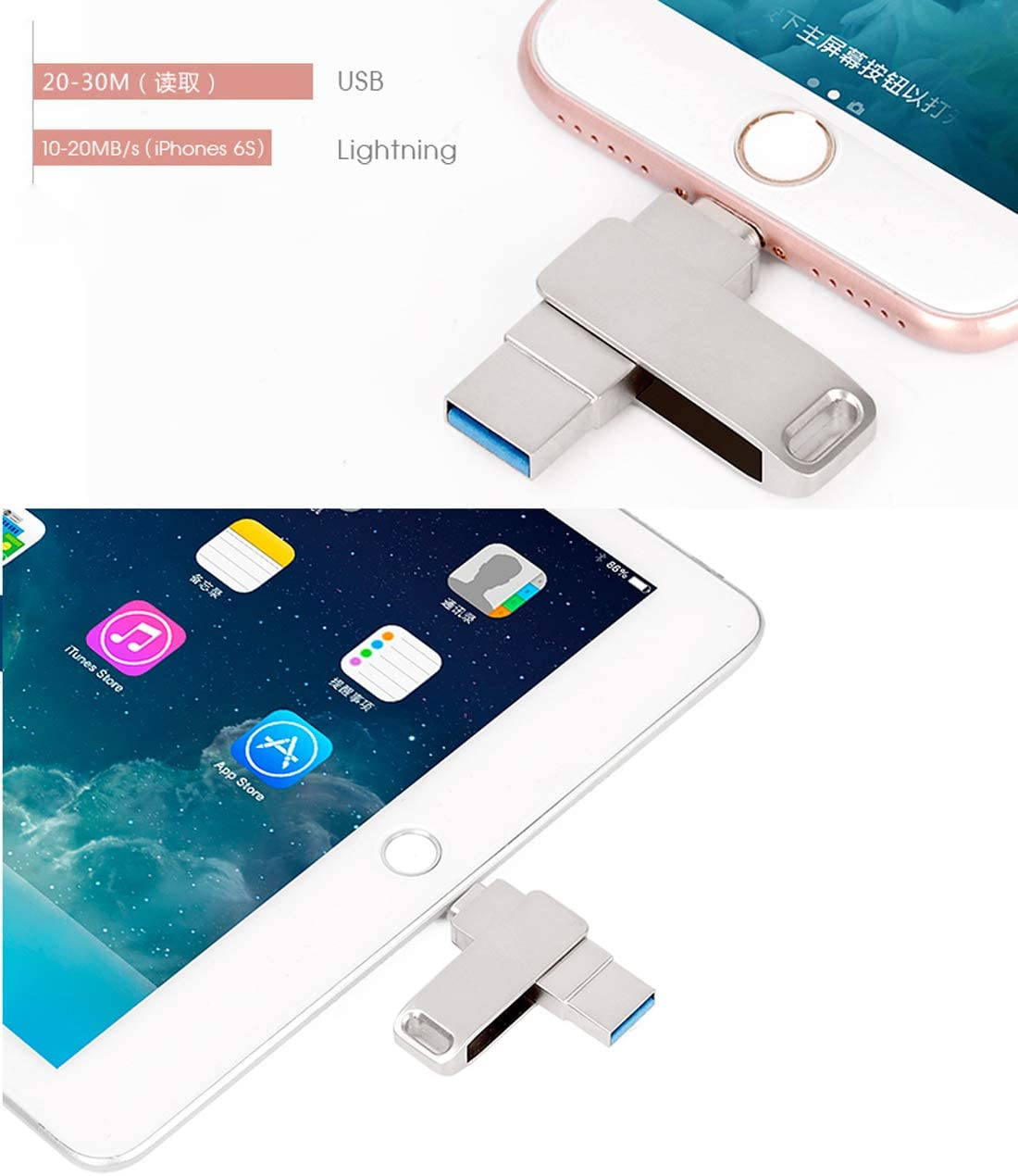 Flash Drive USB 3.0 Memory Stick with Extended Connector Compatible iPod iOS Windows PC Mac OTG Pen Drive for iPhone iPad 128GB Y45