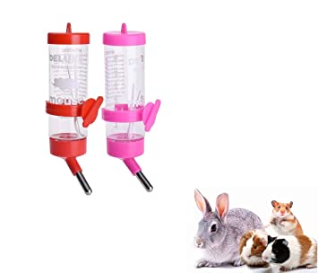 Ducomi® Juego de 2 dispensador con biberón con Sistema de Seguridad antigoteo y Dispositivo de Enganche - Bebedero para hámster, Conejos y pequeños ...