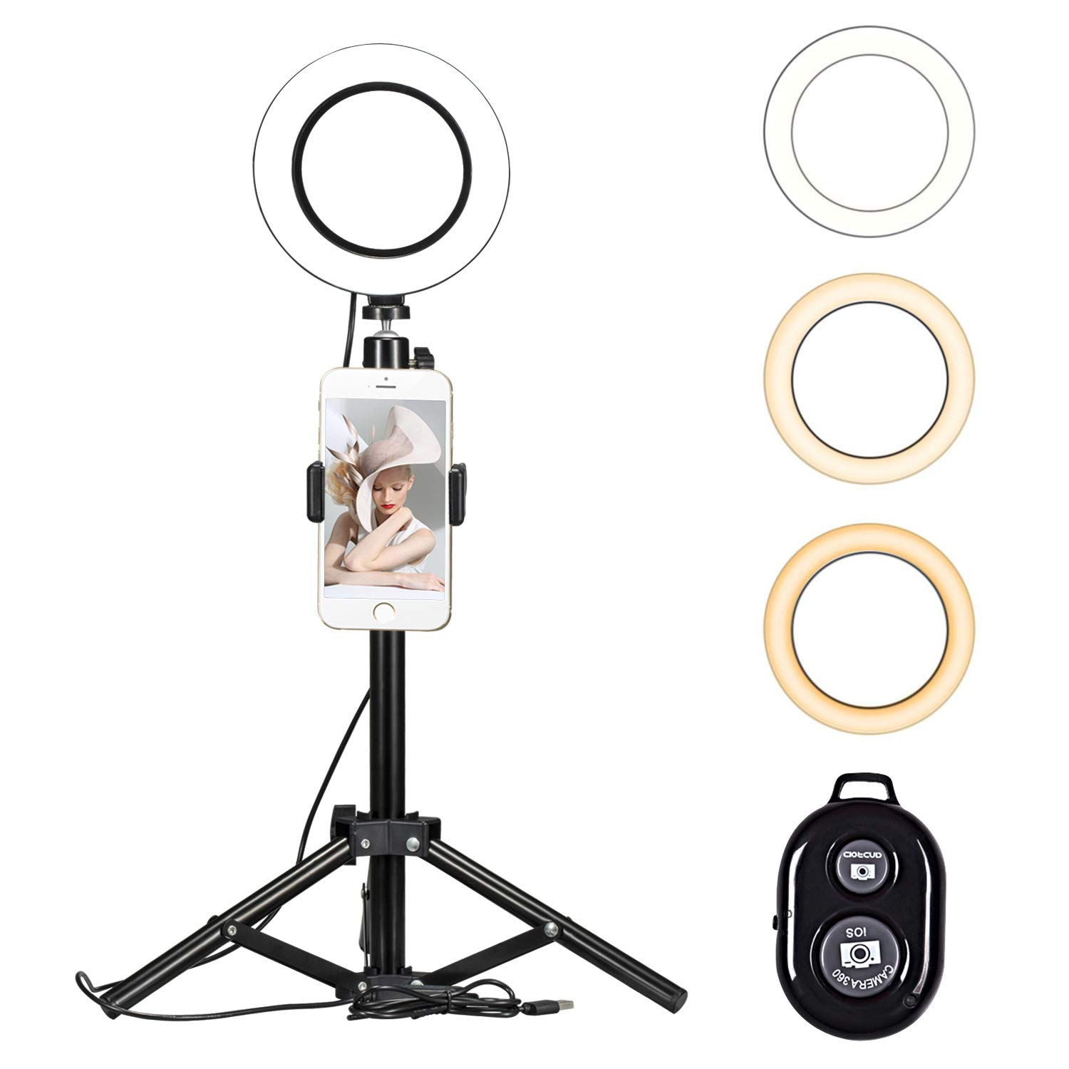 6'' Ring Light Kit, Light Stand Ring Light Cellphone Holder with Adjustable Tripod Stand for Live Stream/Makeup/Video/Photography (3 Light Modes,10-Level Brightness & Remote Control) for iPhone Android by Sigoobal