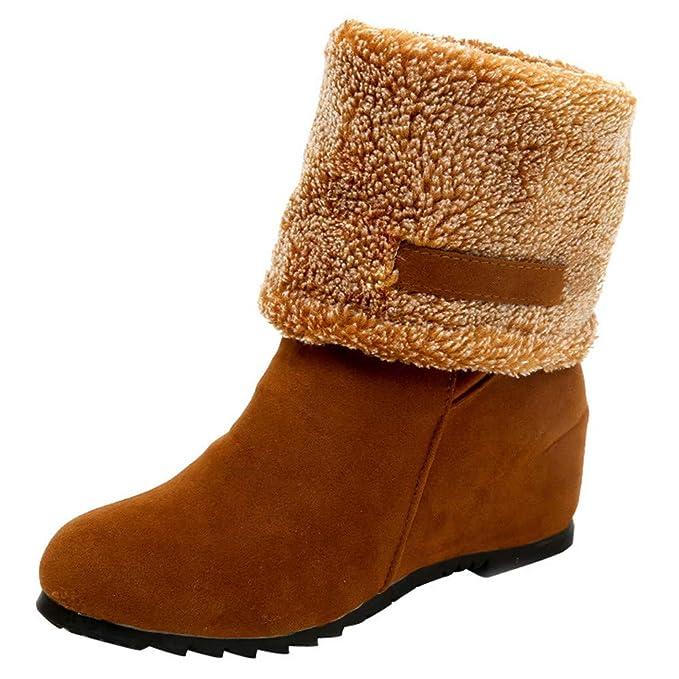 Mujer Botas,Zapatos Invierno Mujer Zapatos Invierno Calientes,Mujer Botas Ante Botas Moda con Cordones cuñas Casual Calzado Casual Outdoor Aire Libre Tacon ...