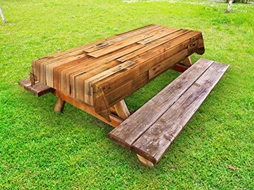 Ambesonne Wooden Outdoor Tablecloth, Lodge Style Teak Hardwood Wall Planks Image Print Farmhouse Vintage Grunge Design Artsy, Decorative Washable Picnic Table Cloth, 58 X 104 Inches, Brown Wood Plank Tabletop