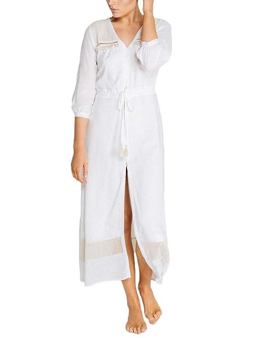 Vestidos Largos De Verano Mujer Elegantes Casual Suelta Vestido Playa Manga 3/4 V Cuello