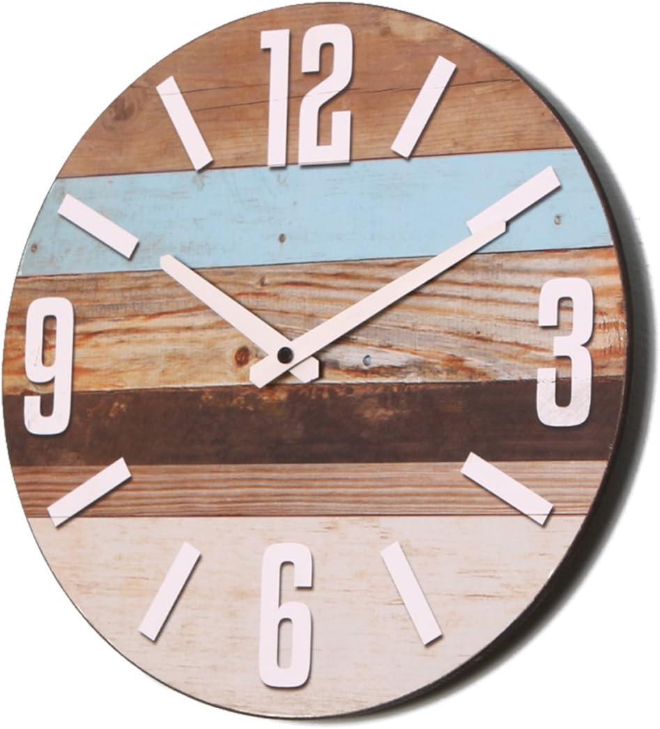 NIKKY HOME Horloge Murale Ronde En Bois 30CM