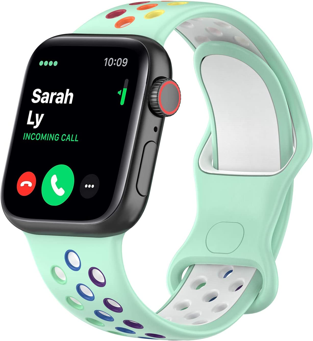 Tosembo Silicone Band Compatible for Apple Watch Band 38mm 40mm 42mm 44mm,Soft Silicone Sport Band Replacement Strap for Apple Watch Series 6/SE/5/4/3/2/1,Nike+,Sport,Edition(Colorful-Teal