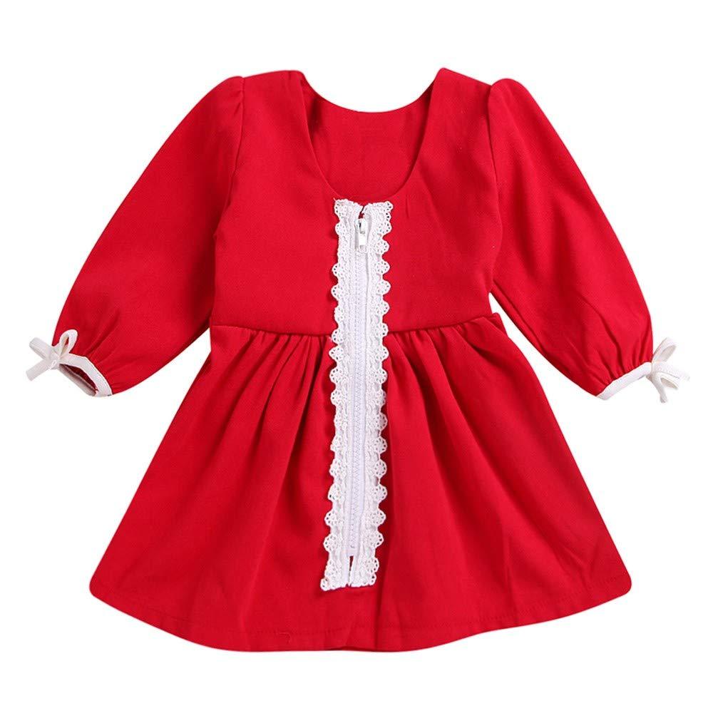 HEETEY Baby Mädchen Mäntel Herbst Winter Baby Kind Mädchen Langarm-Rüsche Geraffte Patchwork Spitze Prinzessin Kleider Kleidung