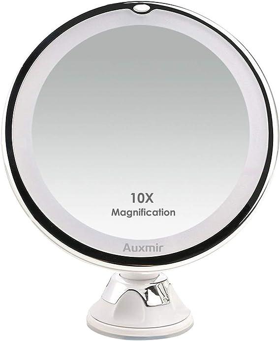 Miroir Grossissant Lumineux Mural x10 7 Pouces Double Alimentation Double Face LED Miroirs de Maquillage Extensible 360/°Pivotant Surface chrom/ée