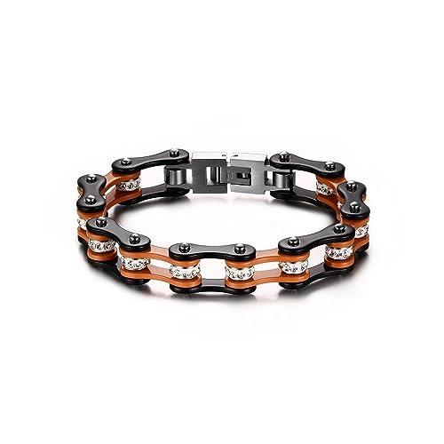 aspetto dettagliato f41b2 75482 BOBIJOO Jewelry - Bracciale Uomo Catena Moto Nero Arancione Strass Bianco  Biker in Acciaio Inox