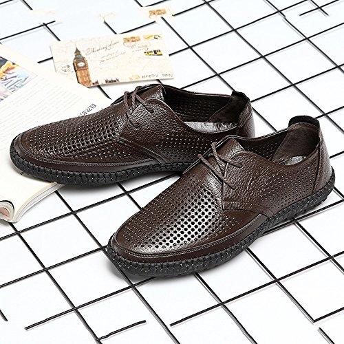 Scarpe shoes Xiazhi uomo da piatta per vacchetta Marrone fodera vera tacco medio di uomo pelle e in con 45qRqwrd