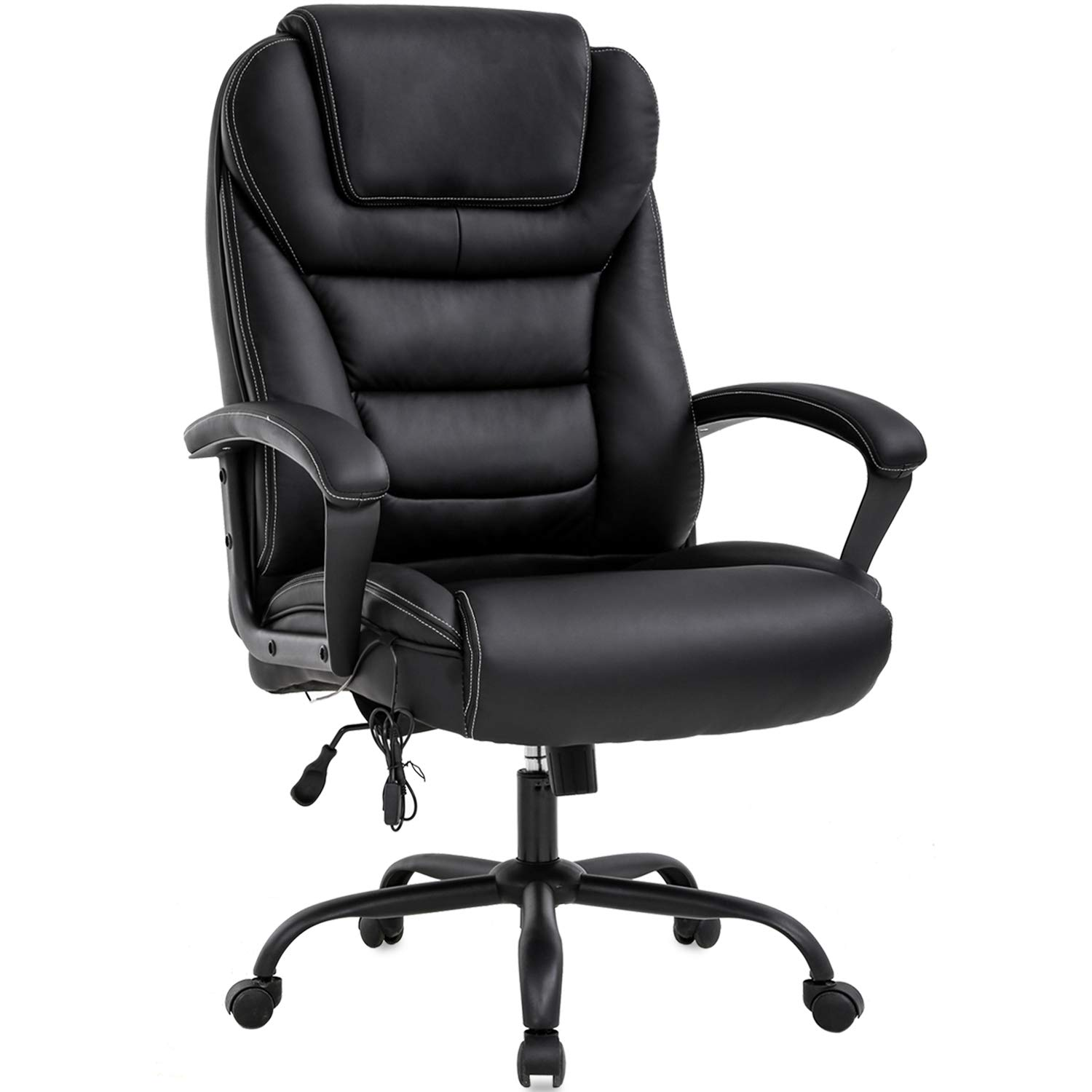 Big and Tall Office Chair 500lbs Wide Seat Ergonomic Desk Chair with Lumbar Support Arms High Back PU Leather Executive Task Computer Chair for Heavy People Women,Black by BestMassage