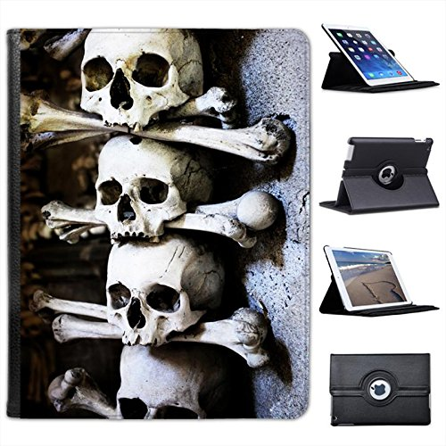 Skulls Stacked with Bones in Cave Scary Halloween for Apple iPad 2, 3 & 4 Faux Leather Folio Presenter Case Cover Bag with Stand Capability]()