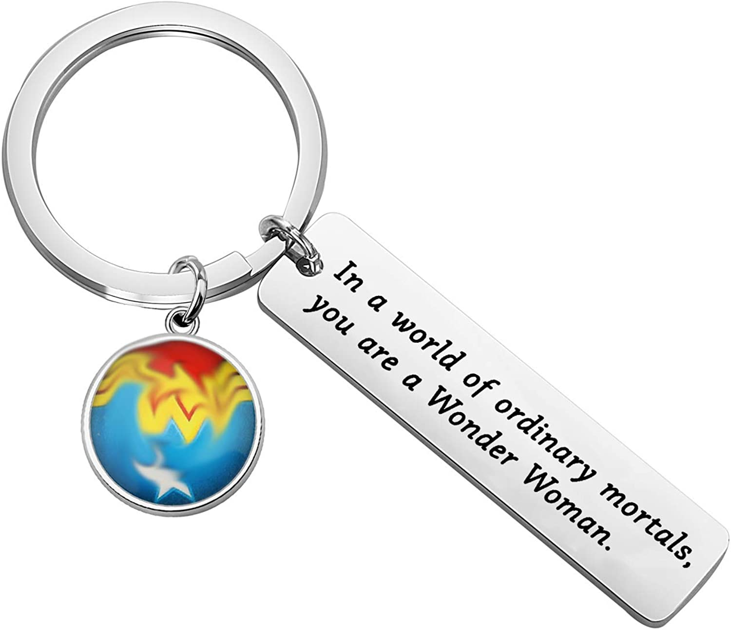 ENSIANTH Wonder Woman Keychain DC Comics Inspired Gift in a World of Ordinary Mortals You are a Wonder Women Inspiration Gift for Her