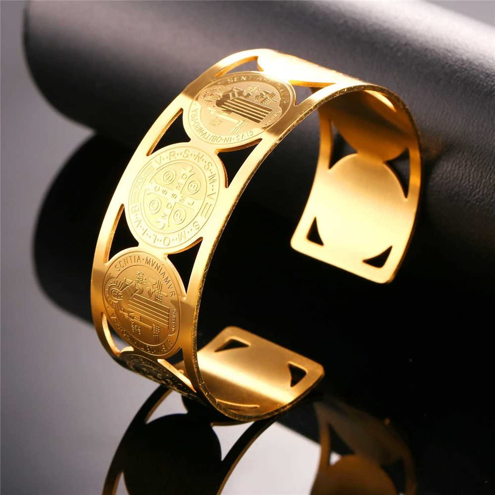 Statement Hand Jewelry Africa Map or Saint Benedict Medal Grain U7 Men Women Stainless Steel//18K Gold Plated Chunky Wide Cuff Bracelet Bangle