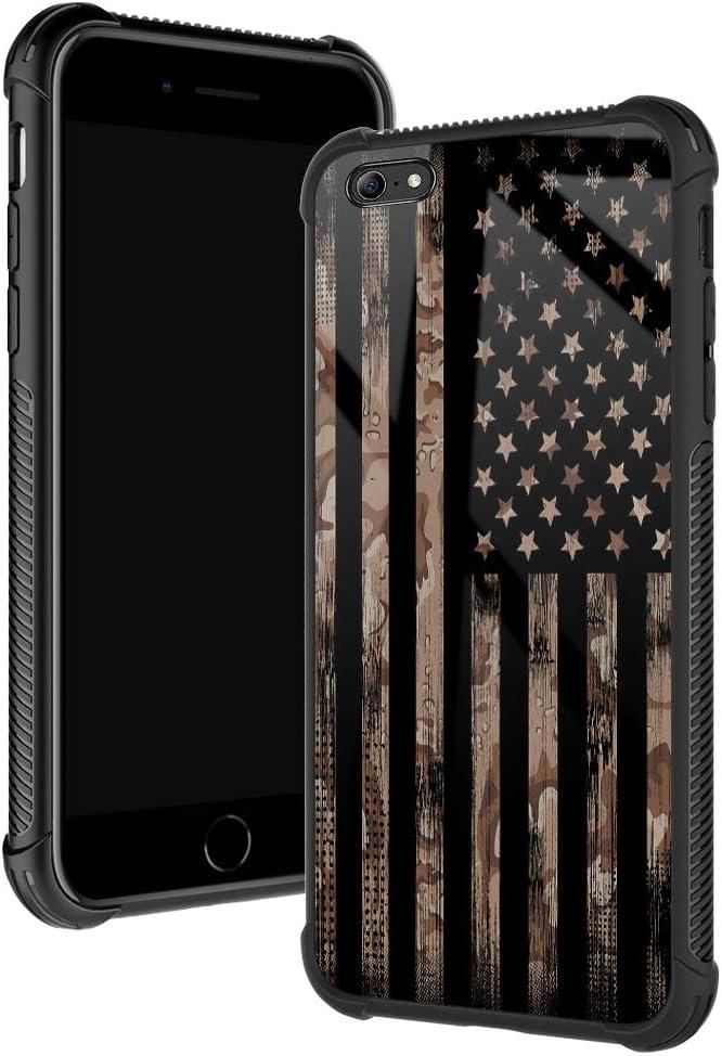 iPhone 6s Plus Case,Flag Desert Camo Khaki iPhone 6 Plus Cases for Boys/Men,Fashoin Design Four Corners Shock Absorption Non-Slip Stripe Soft TPU Bumper Frame Case for iPhone 6/6s Plus 5.5 inch USA