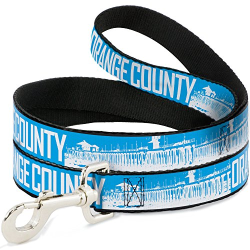 (Buckle Down Dog Leash Orange County Pier Scene Blue White 4 Feet Long 1.5 Inch Wide )