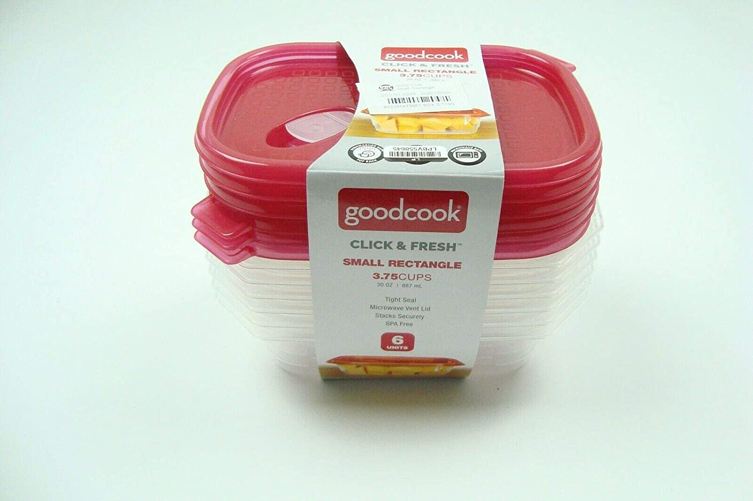 GoodCook Click & Fresh Red Small Rectangle Microwave Safe Food Storage Container 3.75 Cups - Pack of 6