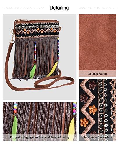 Embrodiery Boho Crossbody Samll Beaded Camel Pulama Bags Fringe Handbag Crossbody 67w7Bqa