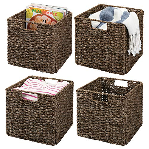 mDesign Natural Woven Seagrass Closet Storage Organizer Bin - Open Top, Built-in Handles, Collapsible, for Closet, Bedroom, Bathroom, Entryway, Office - Pack of 4, Steel Frame, Chestnut Brown -