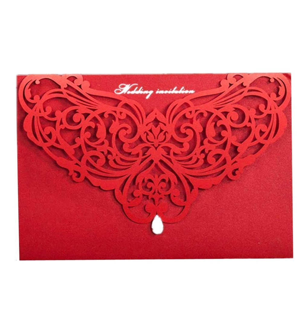 Wishmade Red Laser Cut Wedding Invitations Cardstock Kit for ...