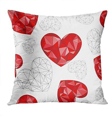 Fundas de Cojín del Coche para Sofá Cama Zip Oculto Fundas de Almohada Lápiz Labial Red Diamond Hearts A White Lips Woman 45 X 45 cm