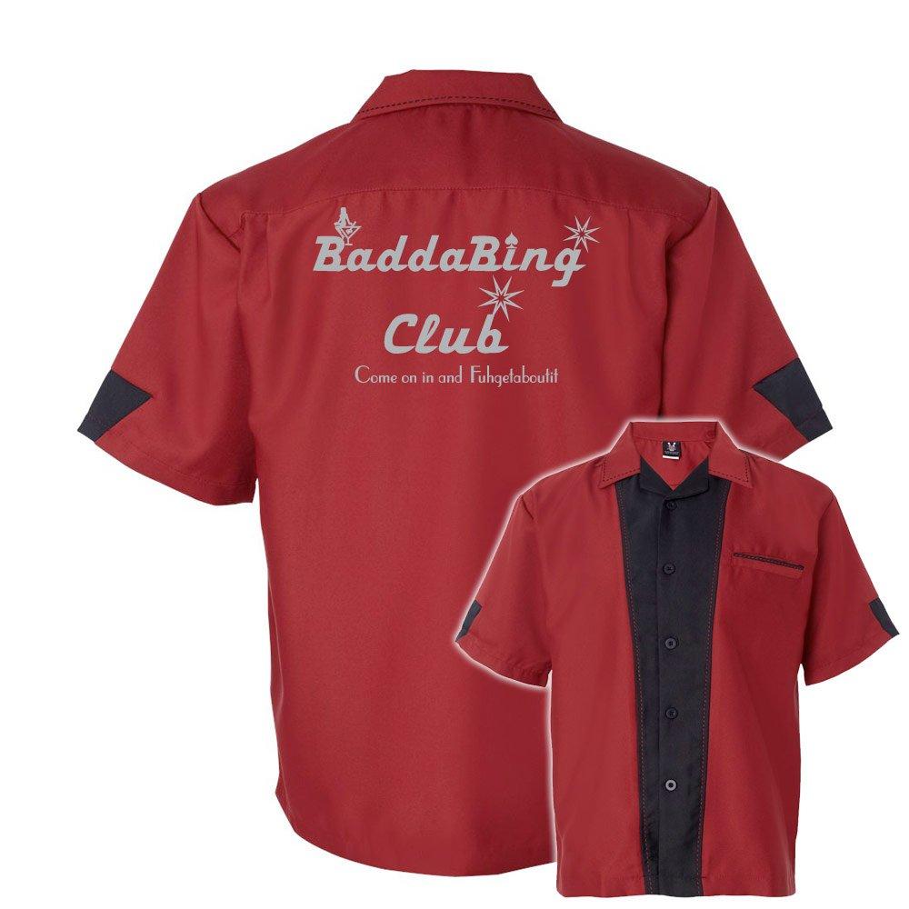 Badda Bing Club Stock Print on Cranker Bowling Shirt Cranberry