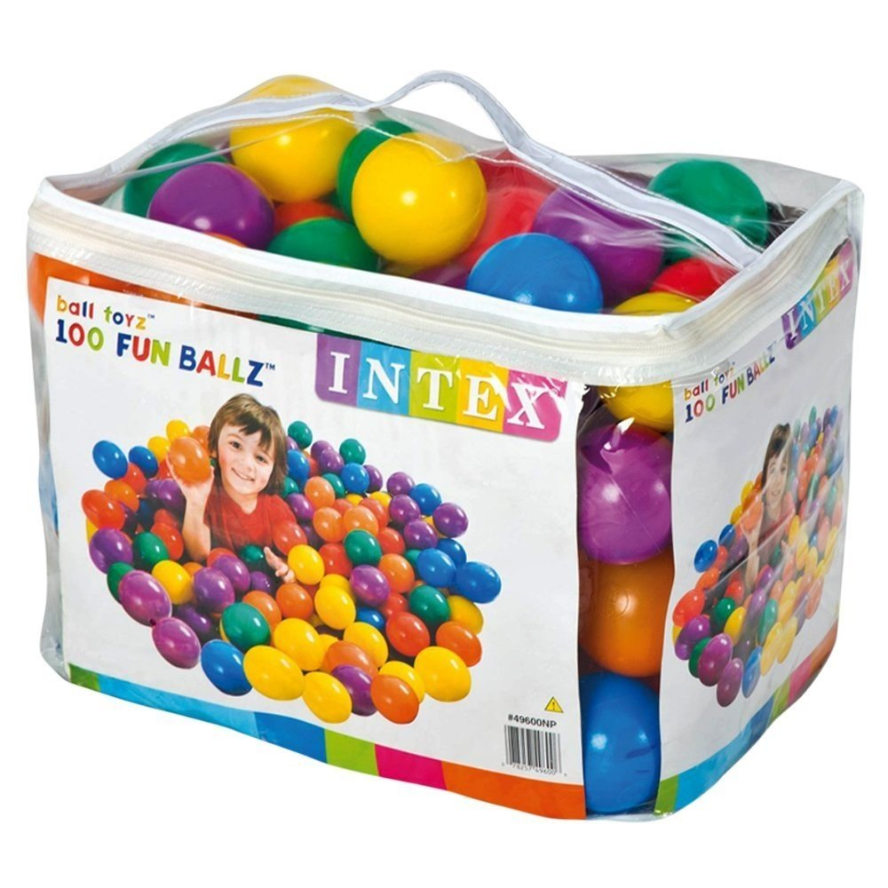 Intex 3-1/8'' Fun Ballz - 100 Multi-Colored Plastic Balls, for Ages 2+