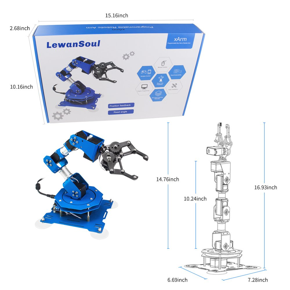 LewanSoul xArm 6DOF Full Metal Programmable Robotic Arm with Feedback of Servo Parameter, Wireless/Wired Mouse Control, Mobile Phone Programming for Arduino Scratch by Hiwonder (Image #9)