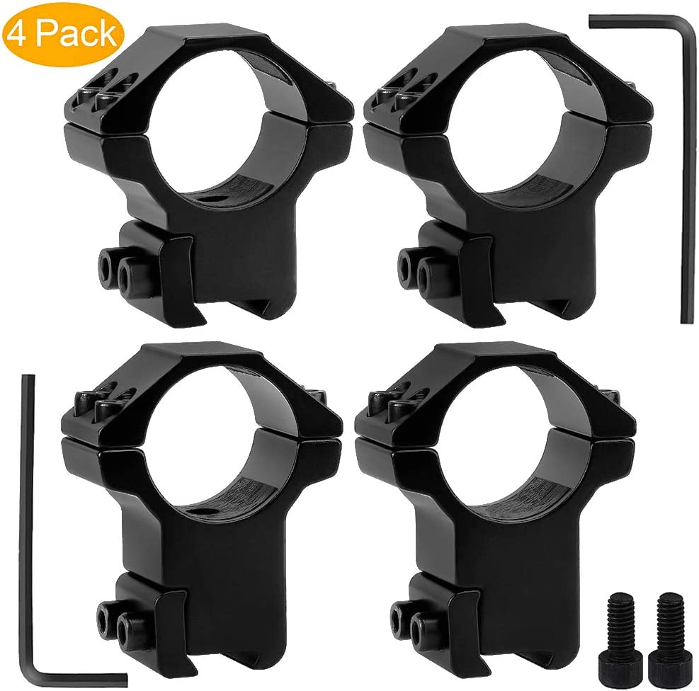 GoldCam 1'' Dovetail Scope Rings, 2Pcs High Profile + 2Pcs Medium Profile 1 Inch Scope Mount Rings for 11mm Dovetail Rails - Pack of 4