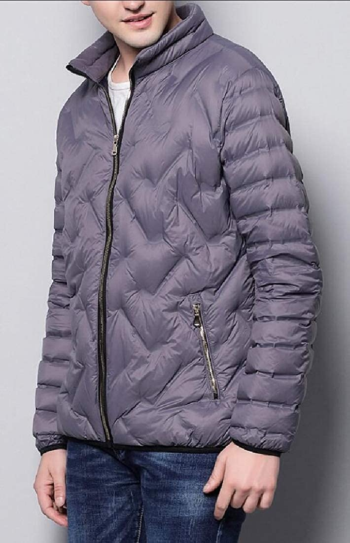 Keaac Men Puffer Jacket Lightweight Waterproof Zipper Closure Warm Slim Coat