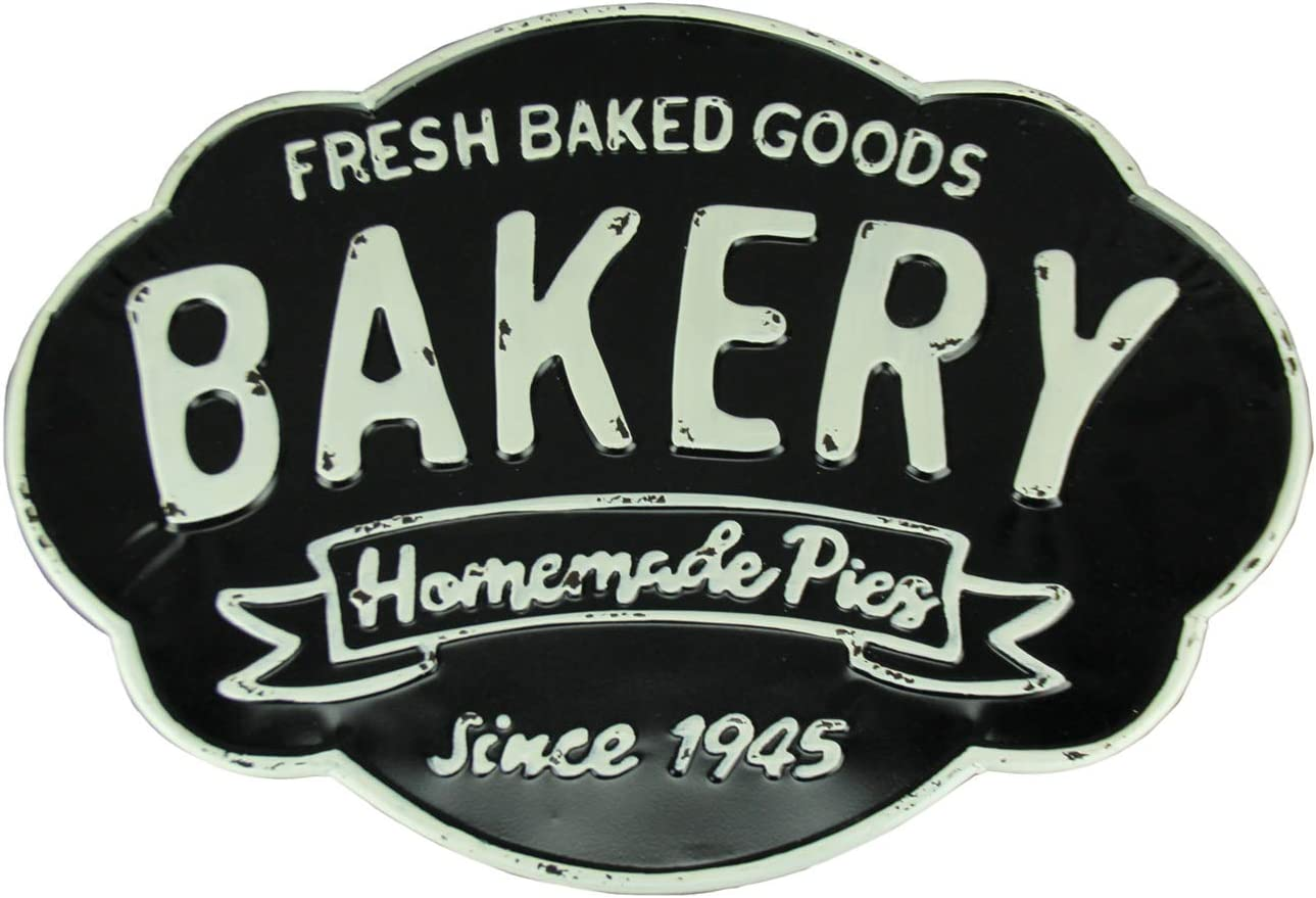 Upper Deck Black and White Metal Vintage Bakery Wall Decor Sign